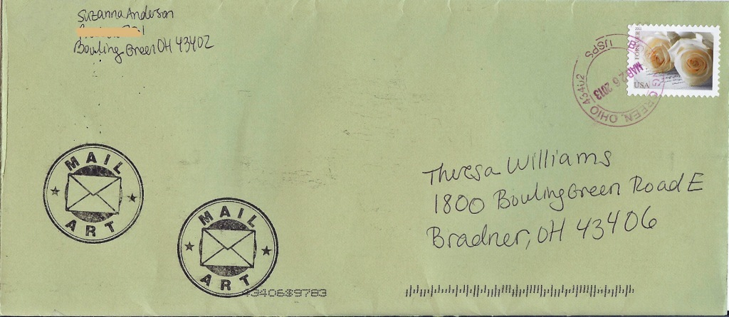 Envelope from Suzy Anderson (front)