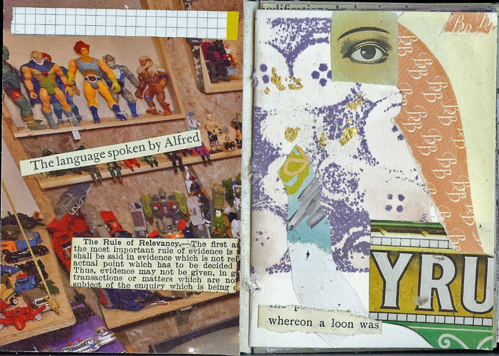 Handmade book of collages by Rebecca Guyver, UK.