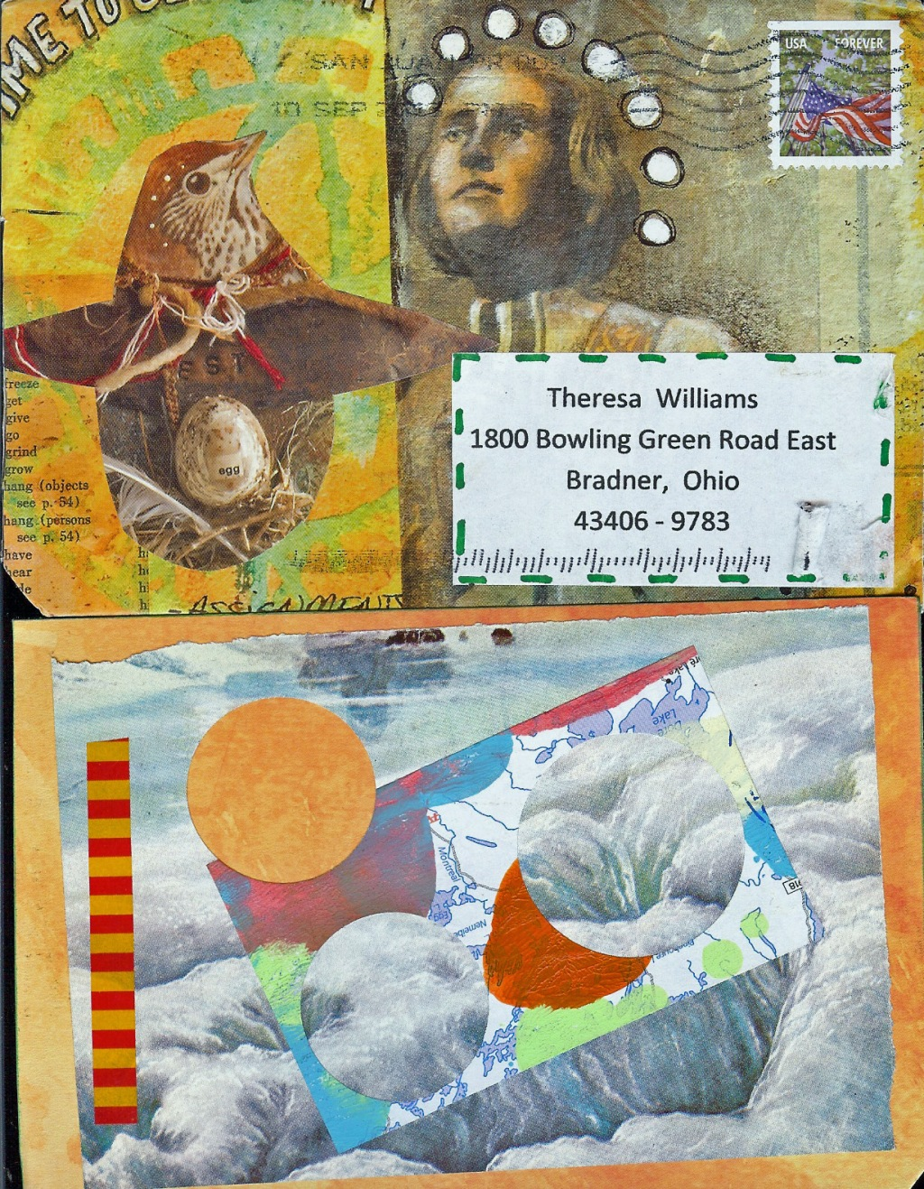 Envelope (top) and mailart (bottom) from Roberto Rios (Puerto Rico)
